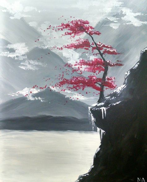 Red Tree in the Mountains