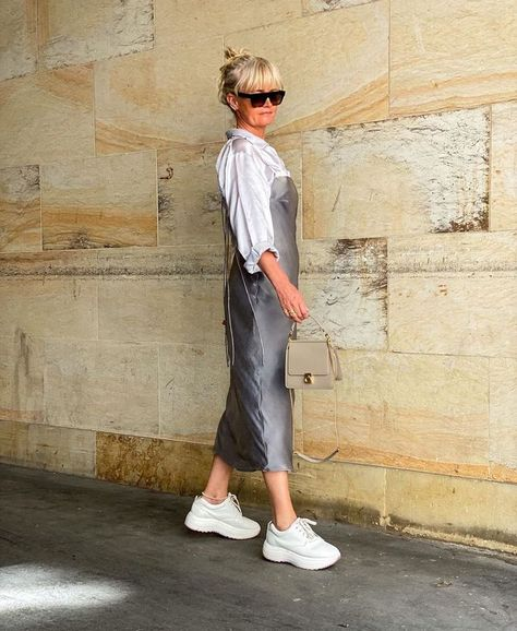 Summer sneaker outfits: slip dress