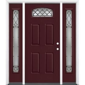National Door Company Z007645l Fiberglass Prehung In Swing Entry Door With 14 Sidelite Left Hand Carr Steel Doors Exterior Exterior Doors Oak Exterior Doors