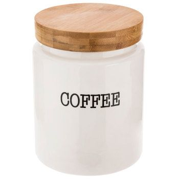 White Coffee Canister With Bamboo Lid