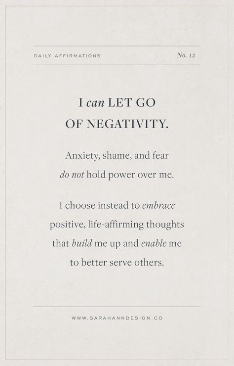 Daily Affirmations for Creatives // I can let go of negativity.