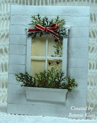 Love this window looking in with the partial view of tree - would be a nice after-Christmas thank you card