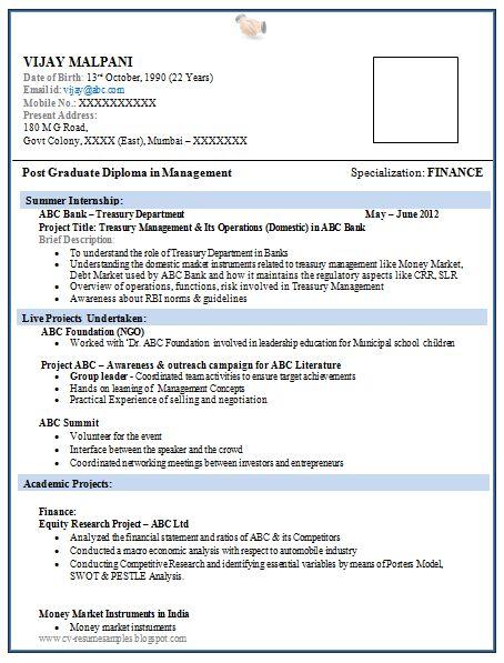 Resume Format for MBA Finance Fresher (1) Career Resume format