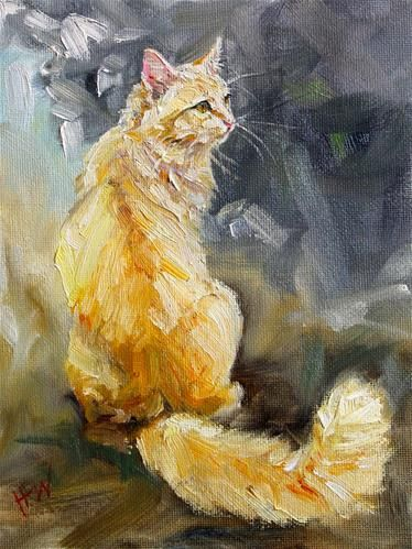 """Daily+Paintworks+-+""""Orange+and+Fluffy""""+-+Original+Fine+Art+for+Sale+-+©+H.F.+Wallen"""