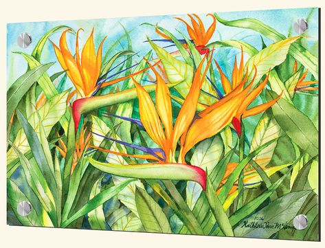 glass tiles with tropical plants-Birds of Paradise-Art Glass Backsplash