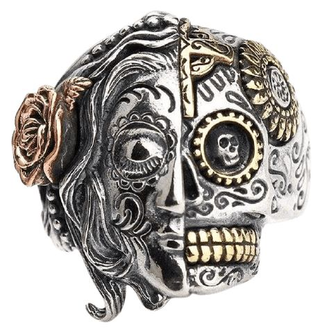 The Calavera Traditional Mexican Skull ring For the gothic look, accessories count for a lot. We have this two face silver skull ring to satisfy you. It's a wonderful sterling silver ring for men. The Ring is two-sided, asymmetrical design, pink and sunflower with devilish eyes. Material: 100% sterling silver 925, Lead and nickel free. Skull size: 27mm