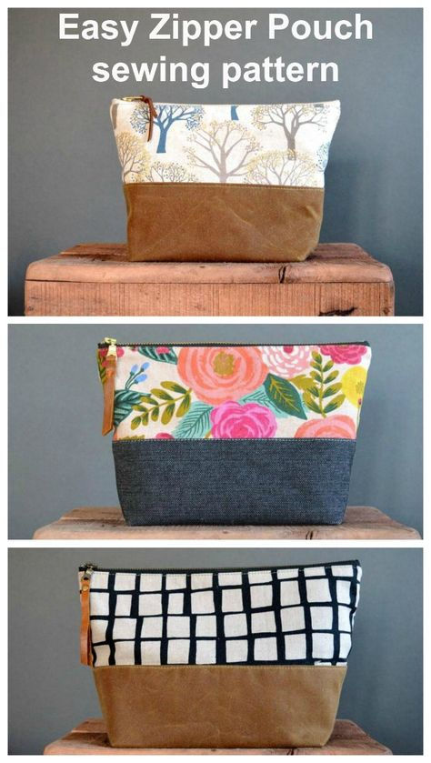 This multi-size sewing pattern for a zipper pouch has 5 different sized bags to sew. These easy zipper pouch patterns are ideal for beginners. There is a separate flat sturdy base, and the zippers are sewn without zipper tabs. Bag Sewing Pattern, Pouch Pattern, Easy Sewing Patterns, Bag Patterns To Sew, Pattern Fabric, Pattern Drafting, Dress Patterns, Small Sewing Projects, Sewing Projects For Beginners