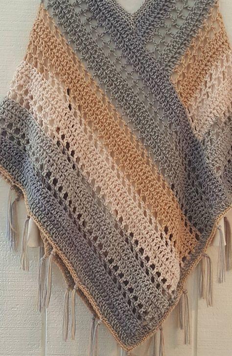 Crochet PATTERN Easy Weekend Poncho with Fringe Bernat Pop image 4