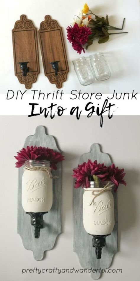How to DIY Thrift Store Junk into a Gift. DIY thrift store junk into a gift. DIY thrift store junk into a beautiful gift. Learn more about how I bought some old thrift store junk pieces and turned them into a gift. Thrift Store Diy Clothes, Thrift Store Furniture, Thrift Store Crafts, Crafts To Sell, Thrift Stores, Upcycled Furniture, Rustic Furniture, Thrift Store Finds, Farmhouse Furniture