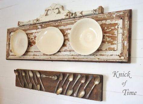 Party Junk 205 – Upcycled Old Door Projects Old door plate wall display by Knick of Time, featured on www. Funky Junk Interiors, French Country Dining Room, French Country Decorating, Country Kitchen, Kitchen Rustic, Family Kitchen, Deco Dyi, Old Door Projects, Diy Projects