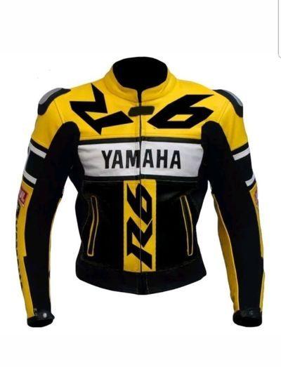 YAMAHA 6 Yellow Motorbike Race Armour Coat CHEAP MENS LEATHER MOTORCYCLE JACKETS