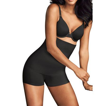 Maidenform Flexees High Waist Boyshort Shapewear Firm Cool Comfort Black FREE SH