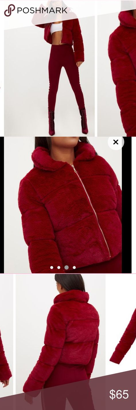 a913cd3fc3 ❤❄Pretty Little Thing Burgundy Faux Fur Jacket❄❤ Brand New With Tag❣ Super  soft and warm with a Luxurious feel. This faux fur puffer jacket is a great  ...