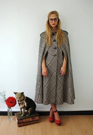 1960s Vintage Wool Tweed Cape Coat Brown Jacket | Cool Stuff ...