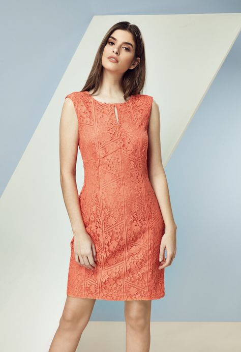 549d7e1eba Go crazy for coral this spring! Inject a burst of vibrant colour into your  wardrobe in a gorgeous lace shift dress