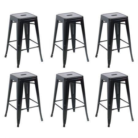 Belleze 26 Inch Metal Counter Vintage Bar Stools Set Of 6 Black Walmart Com Metal Bar Stools Vintage Bar Stools Bar Stools 26 inch metal bar stools