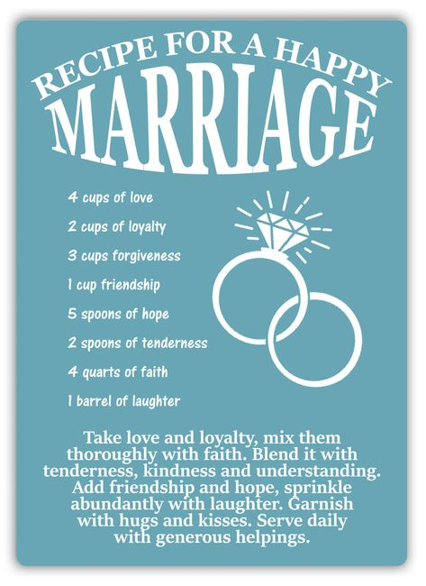 Recipe For A Happy Marriage -Metal Wall Sign Plaque Art- Love Family Wife House