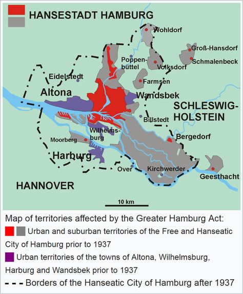 Map of territories affected by the Greater Hamburg Act of 1937 - küchenstudio hamburg wandsbek