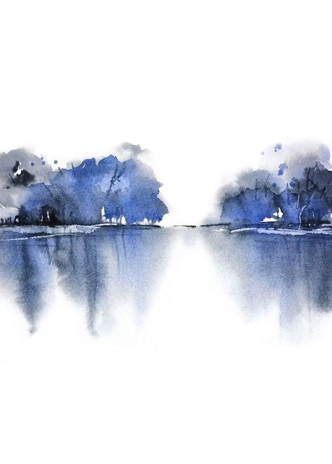 Shades of Blue, Tranquility Art,Monochrome Etsy Landscape, Game room Art Print Watercolor Painting,Lake Print,Blue Wall Art Watercolor Print