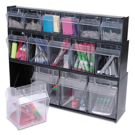 Tilt Bin Interlocking 5 Bin Organizer 23 5 8 X 5 1 4 X 6 1 2 Black Clear Def20504op Walmart Com Organizing Bins Storage System Craft Organization