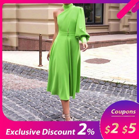 #long #lantern #sleeve #pullover #dress #women #2019 #avocado #green #one #shoulder #plus #size #4xl #dinner #party #midi #female #dresses