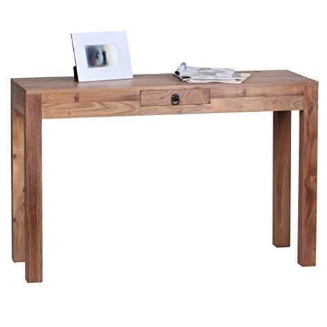 Computertisch design  WOHNLING Schreibtisch Massiv-Holz Sheesham Computertisch 200 cm ...