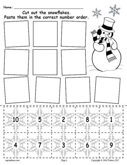 Printable Snowflake Number Ordering Worksheet Numbers 1 10 Numbers Preschool Preschool Winter Numbers Winter Preschool Snowflake worksheets for kindergarten