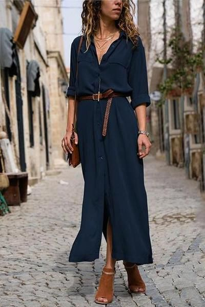 Women Fashionable Loose Long Sleeved Maxi Dress Solid Color Stylishpo Stylishpop Dress Casual Maxi Dress With Sleeves Belted Long Dress Casual Dress Outfits