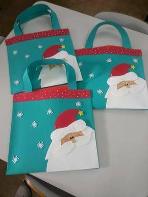 Sacolinha Natalina De E V A Para Colocar Atividades 242 Sacolas De Natal Decorações De Natal Crochê