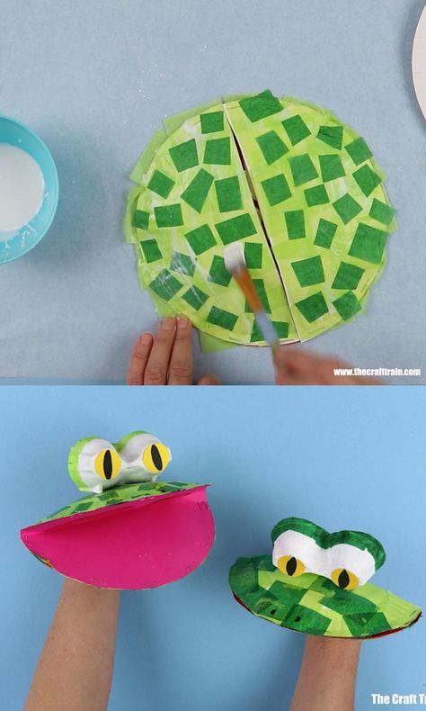 Cute and easy paper plate frog puppet craft for kids. Use paper plates and a few basic craft materials to create these fun DIY puppets! Paper Crafts For Kids, Craft Activities For Kids, Preschool Crafts, Paper Crafting, Diy For Kids, Craft Kids, Diy Toys For Toddlers, Luau Crafts, Frogs Preschool