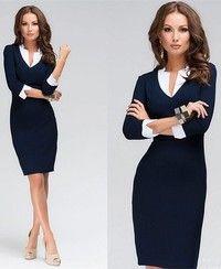 Wish   Women Sexy Solid Dresses Formal OL Bandage Slim Pencil Skirt V Neck Half Sleeves Deep Blue Dress