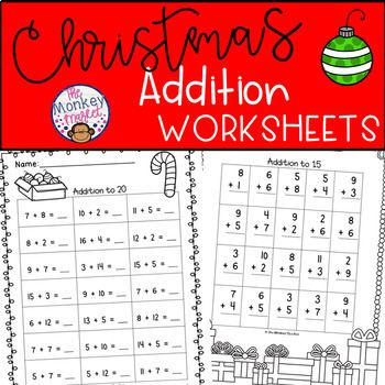 Christmas Addition Worksheets Addition Worksheets Christmas Addition Christmas Teaching