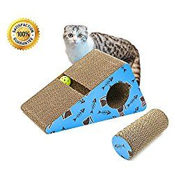 Living Express Multi Activity Kitty Cat Scratching Post Pad With Catnip Sturdy Recycled Materials Scratcher Free Toy Triangle Best Cat Scratching Post Cat Scratching Post Cat Toys
