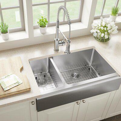 Mrdirect Stainless Steel 33 X 20 Double Basin Farmhouse Apron Kitchen Sink In 2021 Farmhouse Sink Kitchen Farmhouse Apron Kitchen Sinks Steel Kitchen Sink