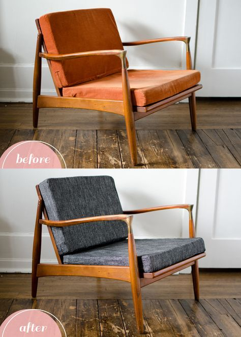 Box Cushion Makeover Furniture Makeover Mid Century Modern Furniture Modern Chairs
