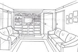 One Point Perspective Living Room Drawing Site About Home Room