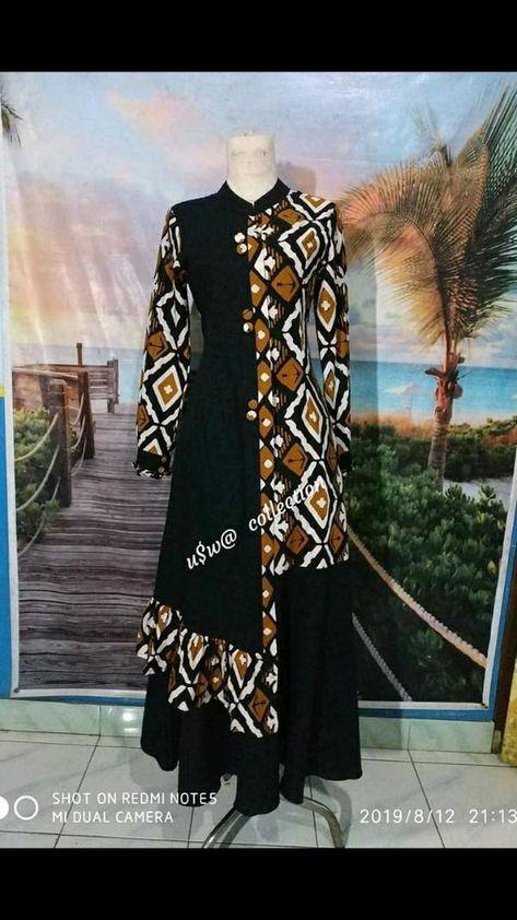 batik kombinasi polos gamis