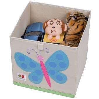 Gouverneur Rattan Wicker Basket Canvas Toy Storage Olive Kids Cube Storage