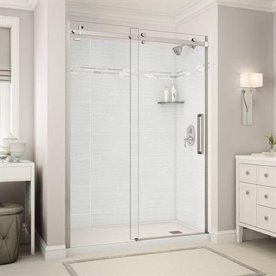 Maax Shower Stalls Enclosure Utile Alcove Shower In Origin Arctik With Base And Door Shower Stall Bathroom Shower Doors Shower Doors