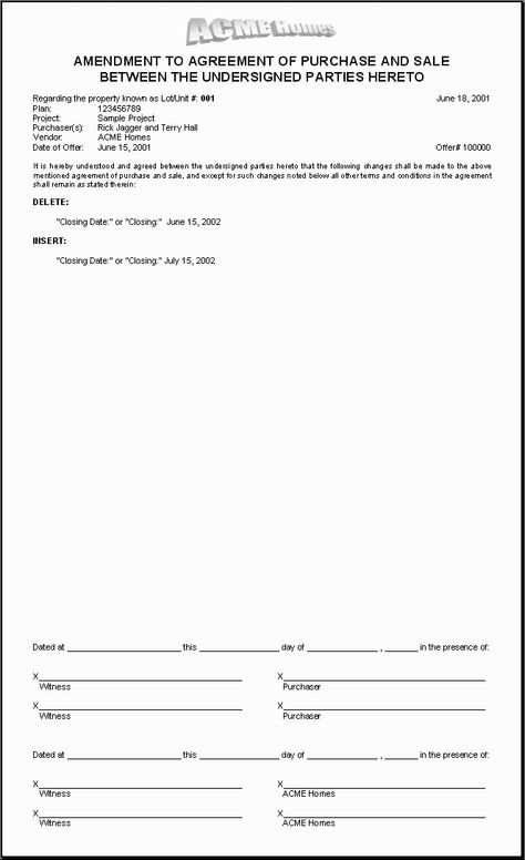 HOMES Sample Document Amendment To Purchase Agreement   Car Purchase  Agreement
