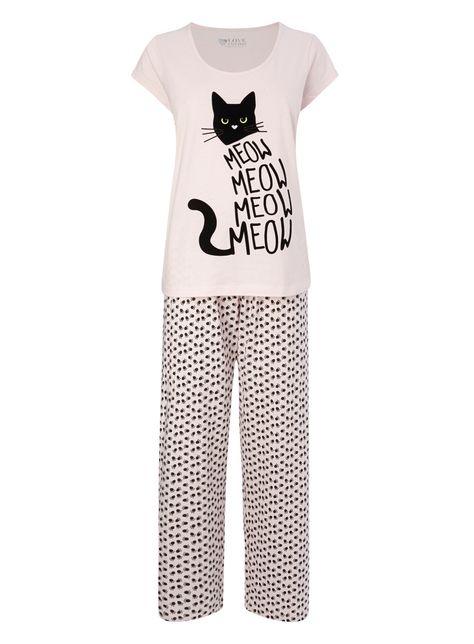 dernières tendances choisissez le dégagement convient aux hommes/femmes Multi Pink Meow Cat Pyjamas - pyjamas - nightwear - Women ...