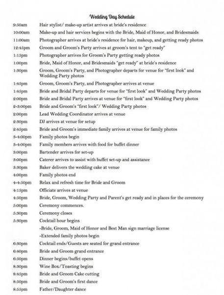 Wedding Day Timeline 5pm Ceremony Wedding Ideas