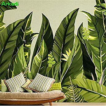 HUANGYAHUI Fototapete Südostasien 3D Mode Grüne Tapete Restaurant ...