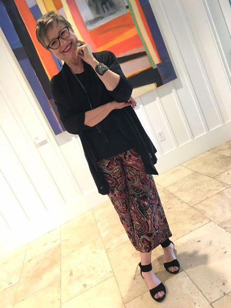 BK in a fancy casual outfit with J.Jill pants on BrendaKinsel.com #workfashionforwomenover50style