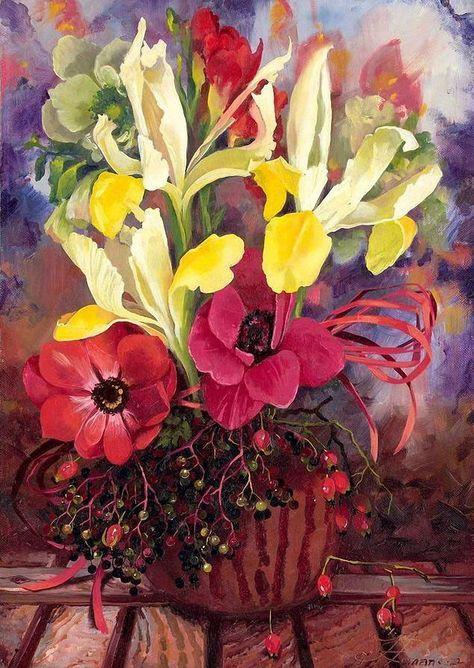 Яркие краски лета в букетах художницы Ira Rom-Lorenz (b. 1971, USA) . Обсуждение…