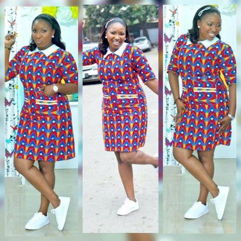 eac88f15bb8 Ankara Styles de robe courte 2018 pour les dames brillantes