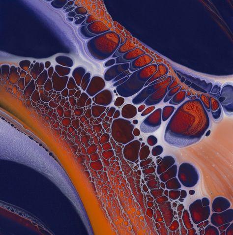 Honeycomb Poured fluid acrylics and ink  nancywoodartanddesign.com