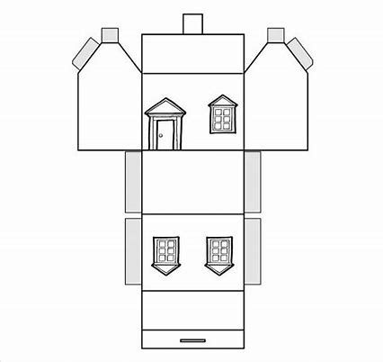 Image Result For Free Pattern Cardboard Christmas Houses Paper House Template House Template Paper Houses