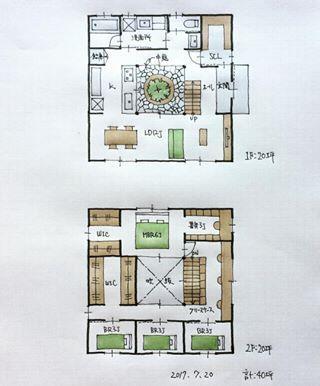 40坪の間取り 中庭を中心にグルグル回れる間取り 2階トイレ描き