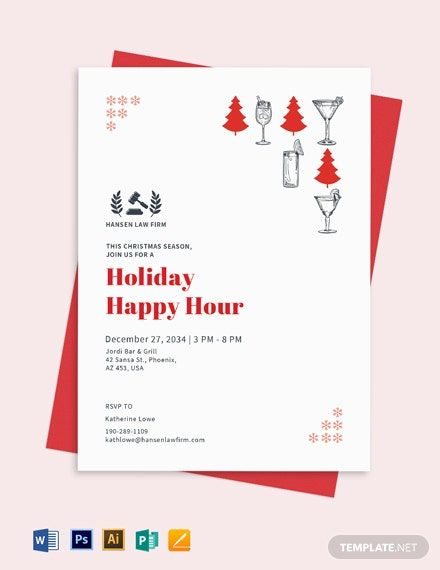 Happy Hour Invitation Sample : happy, invitation, sample, Holiday, Happy, Invite, Template, Apple, Pages, Illustrator, Publisher, Printable, Invitation, Templates,, Party, Template,, Wording